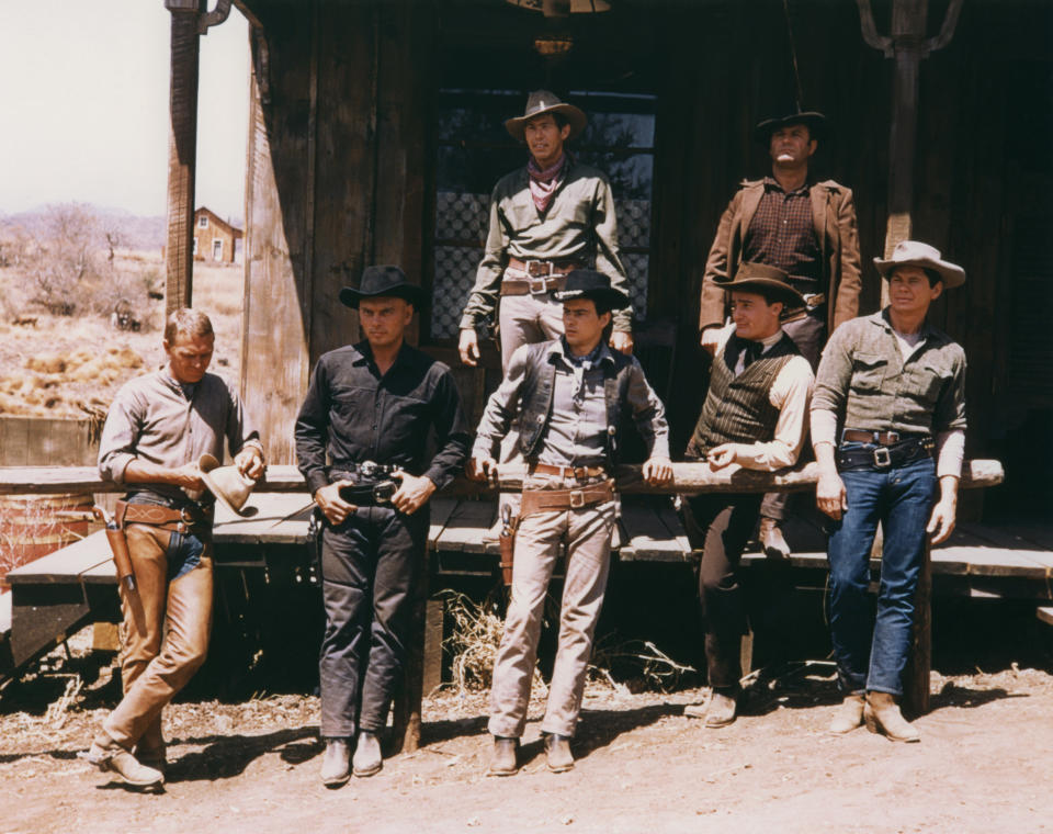 James Coburn, Brad Dexter, Steve McQueen, Yul Brynner, Horst Buchholz, Robert Vaughn and Charles Bronson on the set of The Magnificent Seven, directed by John Sturges. (Photo by United Artists/Sunset Boulevard/Corbis via Getty Images)