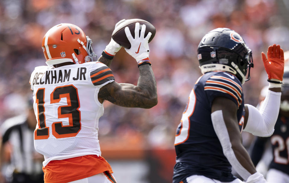 Cleveland Browns wide receiver Odell Beckham Jr. turned five receptions into 77 yards against the Bears in Week 3. (Scott Galvin/USA TODAY Sports)