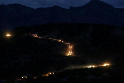 Members of the Mormon LeBaron community arrive in a convoy from the United States to the municipality of Bavispe, in Mexico's Sonora Mountains on November 6