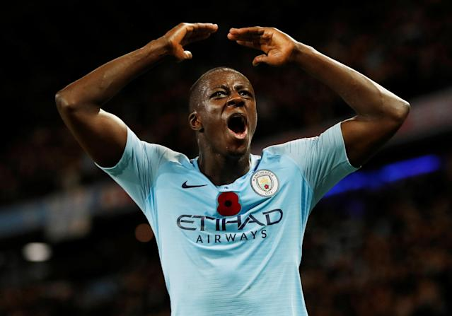"""Soccer Football - Premier League - Manchester City v Manchester United - Etihad Stadium, Manchester, Britain - November 11, 2018 Manchester City's Benjamin Mendy celebrates after the match REUTERS/Darren Staples EDITORIAL USE ONLY. No use with unauthorized audio, video, data, fixture lists, club/league logos or """"live"""" services. Online in-match use limited to 75 images, no video emulation. No use in betting, games or single club/league/player publications. Please contact your account representative for further details."""