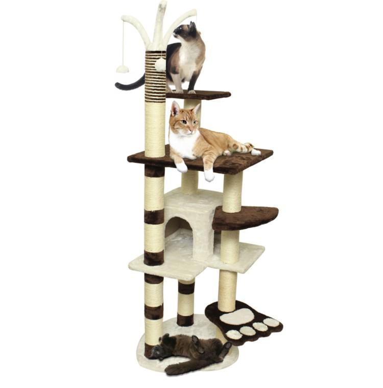 Brown White Pet Cat Tree Play House Tower Condo Bed Scratch Post. (Photo: Ebay)