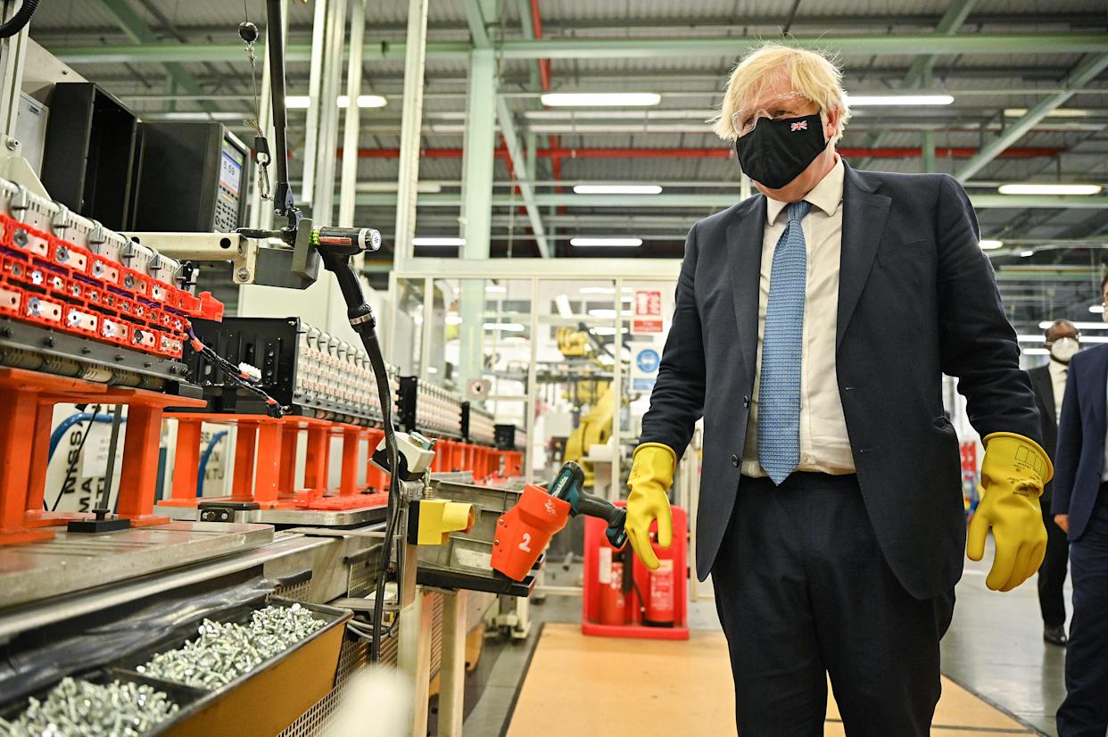 Prime Minister Boris Johnson visits the Envision AESC Holding Ltd battery manufacturing facility inside the Nissan plant in Sunderland following the announcement by the car company that it is to create thousands of jobs making batteries for electric vehicles at a new 'gigafactory'. Picture date: Thursday July 1, 2021.