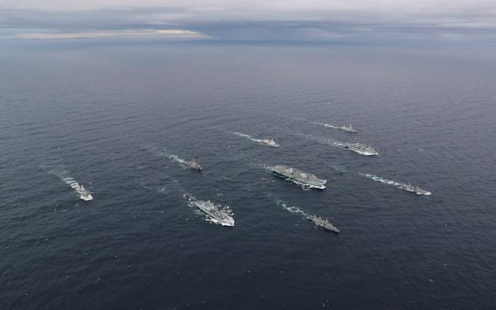 The full UK Carrier Strike Group assembled for the first time during Group Exercise 2020 last October. Aircraft carrier HMS Queen Elizabeth leads a flotilla of destroyers and frigates from the UK, US and the Netherlands, together with two Royal Fleet Auxiliaries. It is the most powerful task force assembled by any European Navy in almost 20 years. - Royal Navy