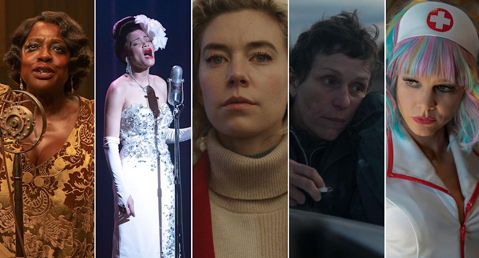 Viola Davis, Andra Day, Vanessa Kirby, Frances McDormand, and Carey Mulligan (Netflix/Sky Cinema/Searchlight)