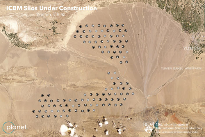 This June 4, 2021, satellite image provided by Planet Labs Inc. that has been annotated by experts at the James Martin Center for Nonproliferation Studies at Middlebury Institute of International Studies shows what analysts believe is a field of intercontinental ballistic missile silos near Yumen, China. The U.S. military is warning about what analysts have described as a major expansion of China's nuclear missile silo fields, at a time of heightened tension between the U.S. and China. (Planet Labs Inc., James Martin Center for Nonproliferation Studies at Middlebury Institute of International Studies via AP)