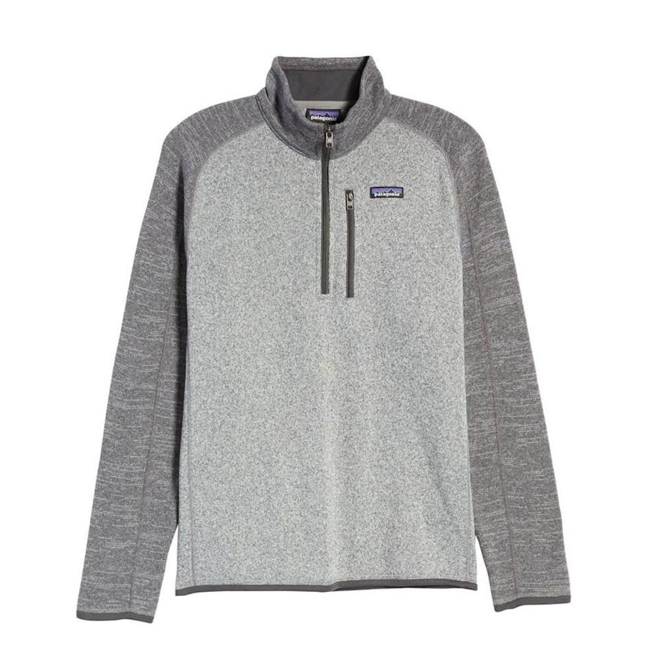 """<p><strong>PATAGONIA</strong></p><p>nordstrom.com</p><p><a href=""""https://go.redirectingat.com?id=74968X1596630&url=https%3A%2F%2Fwww.nordstrom.com%2Fs%2Fpatagonia-better-sweater-quarter-zip-pullover%2F5180318&sref=https%3A%2F%2Fwww.menshealth.com%2Fstyle%2Fg33510339%2Fnordstrom-anniversary-sale-2020%2F"""" rel=""""nofollow noopener"""" target=""""_blank"""" data-ylk=""""slk:BUY IT HERE"""" class=""""link rapid-noclick-resp"""">BUY IT HERE</a></p><p><strong><del>$119</del></strong> <strong>$83.90 (29% off)</strong></p><p>We still have a few weeks until fleece season kicks in, but this layer will come in handy for chilly evenings in nature on your next camping adventure.</p>"""