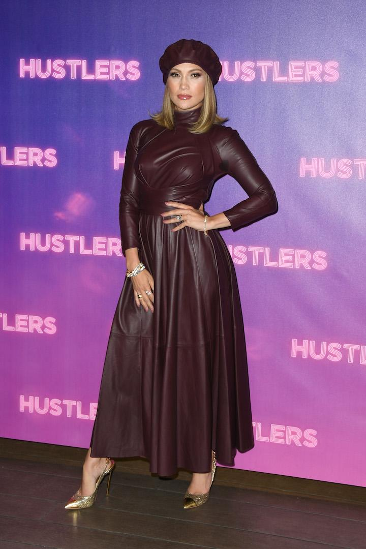 Paying tribute to new silver screen flick 'Hustlers', Jennifer Lopez successfully pulled off a £2,250 all-leather dress by Zimmerman. A matching £225 beret completed the winning look. <em>[Photo: Getty]</em>