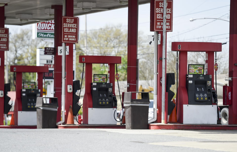 Blandon, PA - April 27: Gas pumps at the Redners Quick Shoppe gas station on 222 at the intersection with 73 in Blandon Tuesday afternoon April 27, 2021. (Photo by Ben Hasty/MediaNews Group/Reading Eagle via Getty Images)