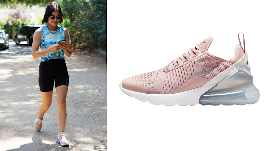 Lucy Hale wearing pink Nike Air Max 270 Sneakers (Photos via Getty/Nike)
