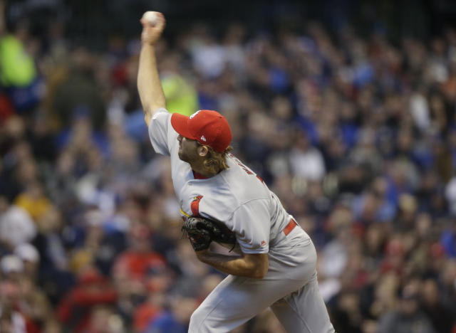 St. Louis Cardinals starting pitcher Michael Wacha throws to the Milwaukee Brewers during the first inning of a baseball game Sunday, March 31, 2019, in Milwaukee. (AP Photo/Jeffrey Phelps)
