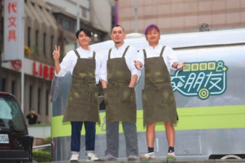 Anthony Wong with his co-hosts of 'Friends by Food Truck' - Edison Song (left) and Kid Lin (right)