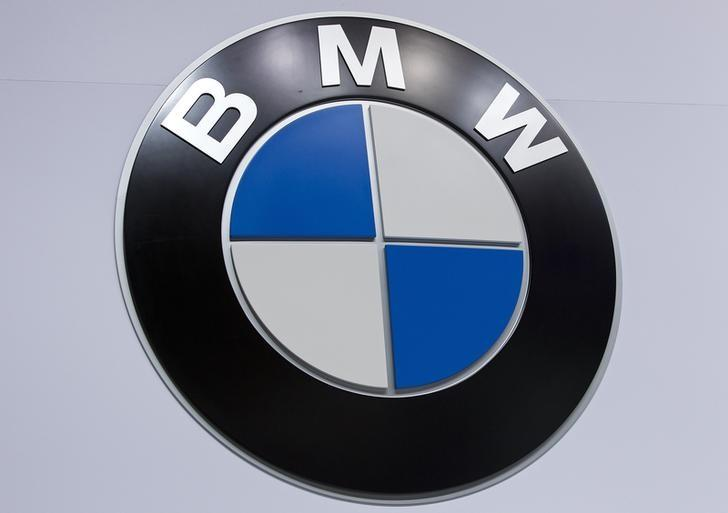 A BMW logo is pictured at the Jacob Javits Convention Center during the New York International Auto Show in New York