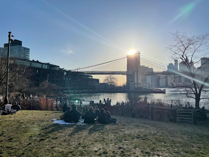 Thanks to the warmer weather, I've been enjoying reading outdoors. Pictured here: Some afternoon sun at a park in Brooklyn, New York.