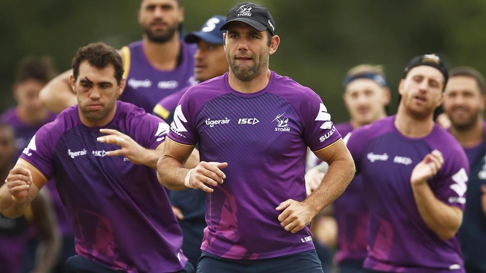 Melbourne Storm captain Cameron Smith is pictured during a training session.