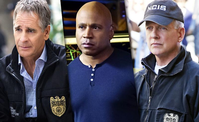 Scott Bakula as Special Agent Dwayne Pride, LL Cool J as Sam Hanna in 'NCIS: LA,' and Mark Harmon as Leroy Jethro Gibbs in 'NCIS' (Credit: CBS)