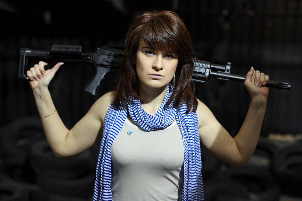 Maria Butina poses for a photo at a shooting range in Moscow, Russia on April 22, 2012.