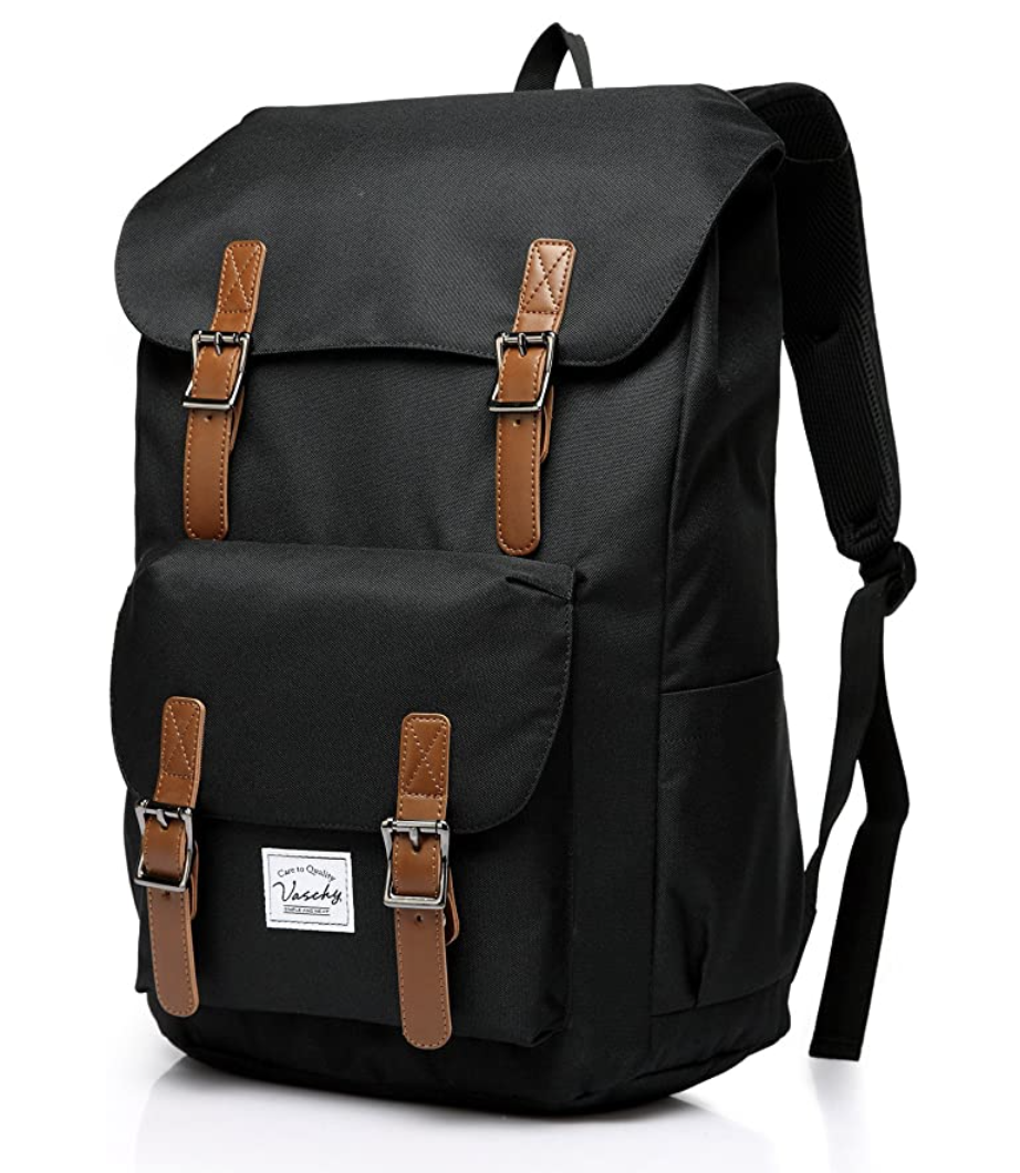 The best backpacks for middle & high school: Vaschy Vintage Backpack in Black (Photo via Amazon)