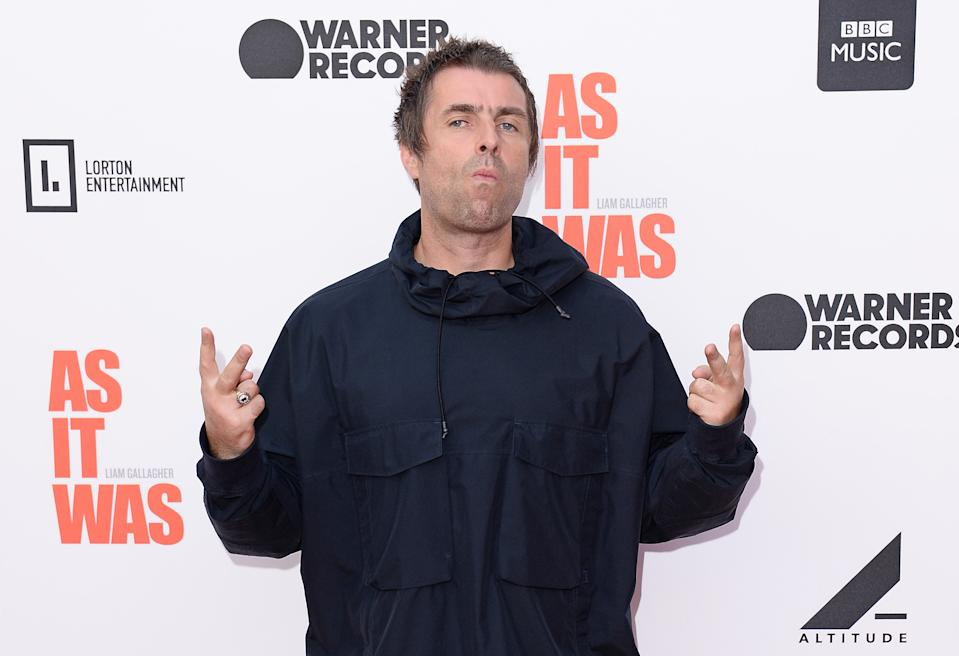 """Liam Gallagher attends the World Premiere of """"Liam Gallagher: As It Was"""" at Alexandra Palace on June 06, 2019 in London, England. (Photo by Jeff Spicer/Getty Images)"""
