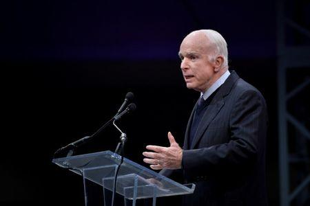 U.S. Senator McCain speaks after being awarded the 2017 Liberty Medal at the Independence Hall in Philadelphia