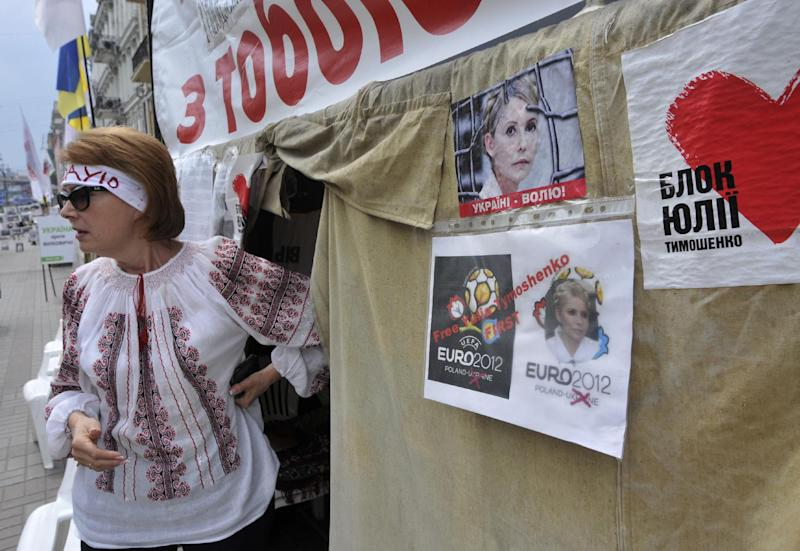 A supporter of former Ukrainian Prime Minister Yulia Tymoshenko is seen at a tent camp in central Kiev, Tuesday, May 8, 2012. Tymoshenko, whose imprisonment and purported beating by prison officials, has caused outrage in the West, has said she may agree to be treated at a local Ukrainian clinic under the supervision of a German doctor. (AP Photo/Sergei Chuzavkov)