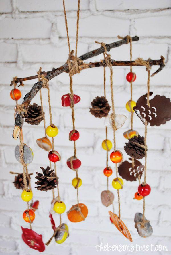 """<p>This project begins with a walk in the woods with the kids to gather sticks, pinecones, rocks, and other goodies, and ends with a wonderful set of autumn-themed wind chimes you'll be proud to hang on your front porch.</p><p><strong>Get the tutorial at <a href=""""http://www.thebensonstreet.com/2013/10/16/fall-wind-chimes-craft-kids/"""" rel=""""nofollow noopener"""" target=""""_blank"""" data-ylk=""""slk:The Benson Street"""" class=""""link rapid-noclick-resp"""">The Benson Street</a>. </strong></p><p><a class=""""link rapid-noclick-resp"""" href=""""https://www.amazon.com/Beads-Bead-Assortments-Wood/s?rh=n%3A12896121%2Cp_n_material_browse%3A8291754011&tag=syn-yahoo-20&ascsubtag=%5Bartid%7C10050.g.1201%5Bsrc%7Cyahoo-us"""" rel=""""nofollow noopener"""" target=""""_blank"""" data-ylk=""""slk:SHOP WOODEN BEADS"""">SHOP WOODEN BEADS</a><br></p>"""
