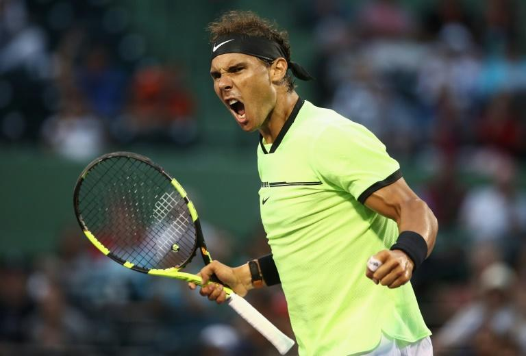 Rafael Nadal of Spain celebrates defeating Philipp Kohlschreiber of Germany, at Miami Open, on March 26, 2017