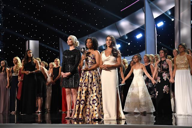 The 141 women on the ESPYs stage are survivors of Larry Nassar's abuse. (Photo: Kevin Mazur/Getty Images)