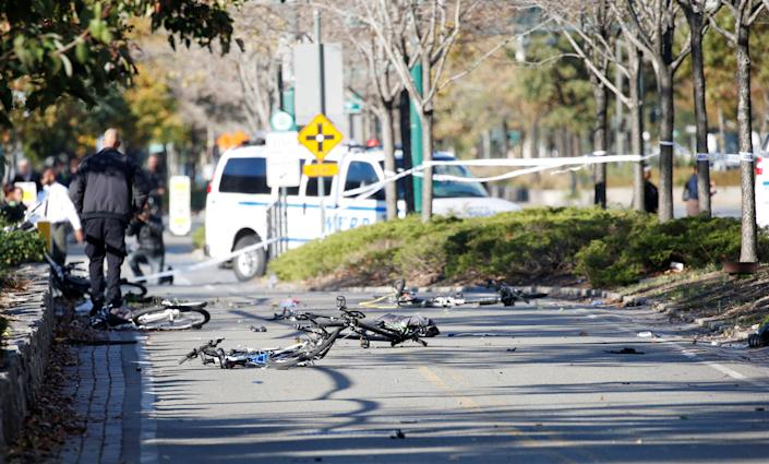 Multiple crushed bikes along a bike path in lower Manhattan on Tuesday. (Photo: Reuters)