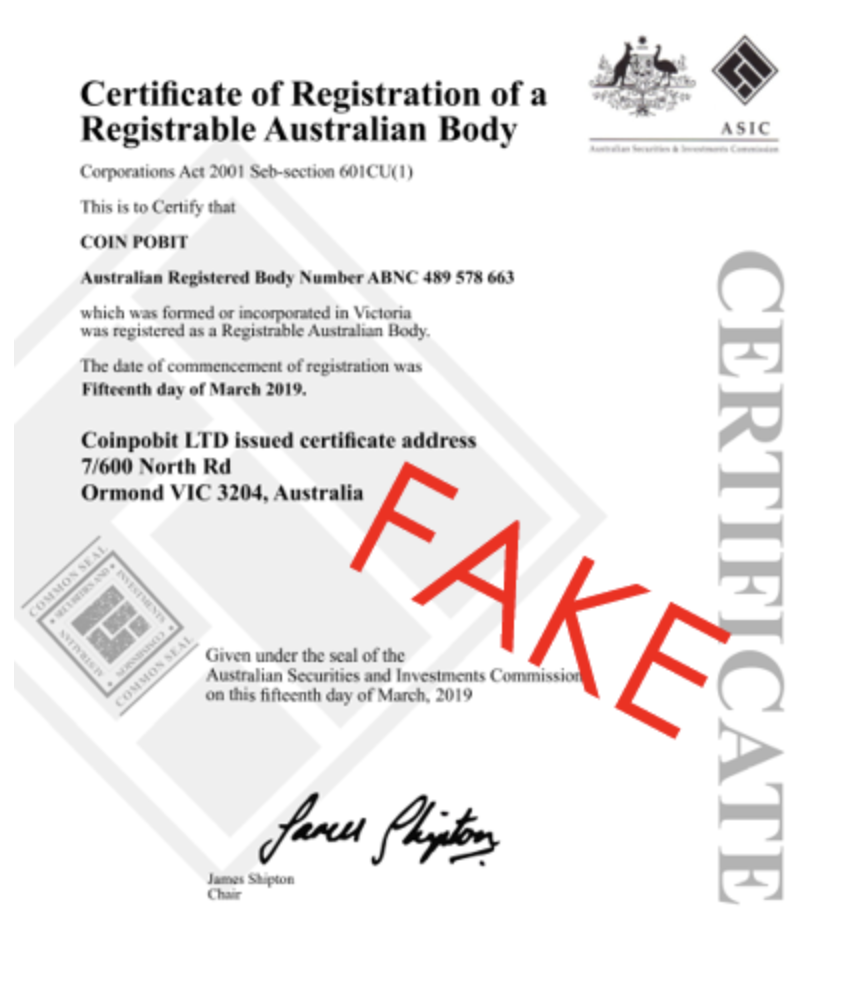 example of a fake asic document