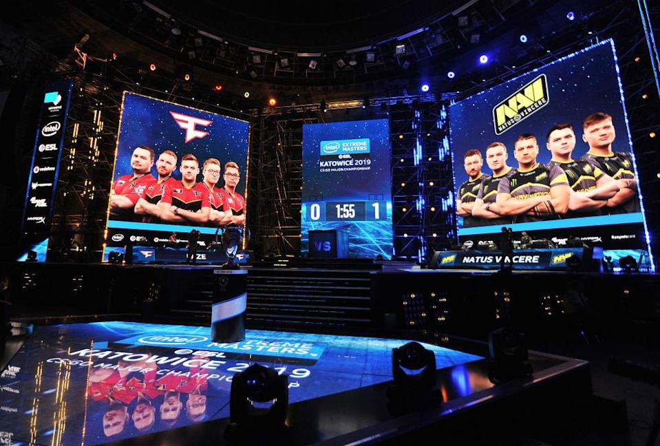 KATOWICE, POLAND - FEBRUARY 28: View on the stage during Counter-Strike: Global Offensive game between NaVI and FaZe Clan during ESL Intel Extreme Masters 2019 on February 28, 2019 in Katowice, Poland. (Photo by Norbert Barczyk/PressFocus/MB Media/Getty Images)