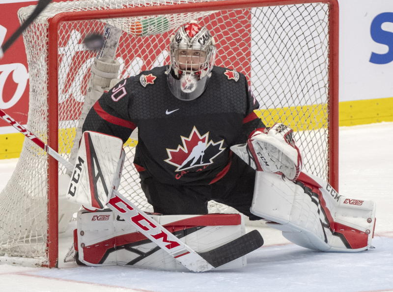 Canada goaltender Joel Hofer keeps his eyes on a loose puck during third period action against the Czech Republic at the World Junior Hockey Championships on Tuesday, Dec. 31, 2019 in Ostrava, Czech Republic. (Ryan Remiorz/The Canadian Press via AP)