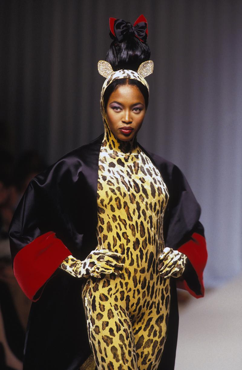 Naomi Campbell walks the runway of the Guy Laroche spring/summer 1994 couture show during Paris Fashion Week in 1994. Photo courtesy of Getty Images.
