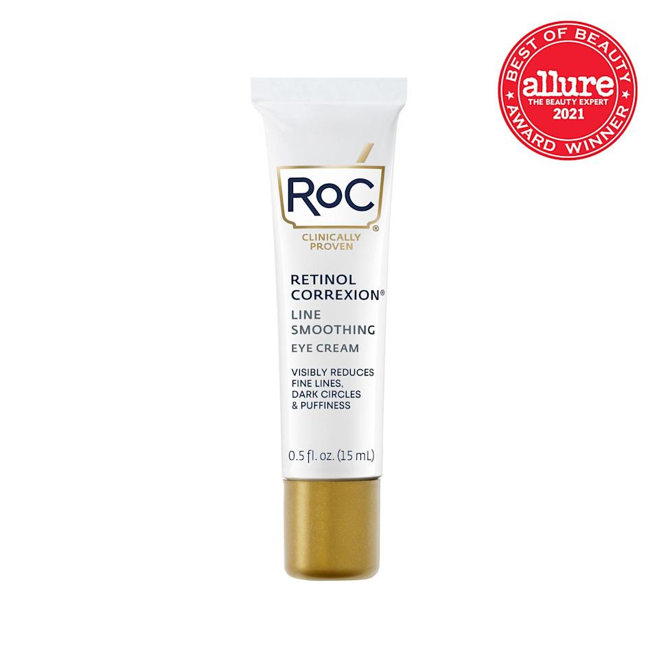 """The vitamin A in <strong>RoC Retinol Correxion Line Smoothing Eye Cream</strong> relaxes creases without irritating the <a href=""""https://www.allure.com/gallery/the-12-best-eye-creams?mbid=synd_yahoo_rss"""" rel=""""nofollow noopener"""" target=""""_blank"""" data-ylk=""""slk:tender eye area"""" class=""""link rapid-noclick-resp"""">tender eye area</a>."""