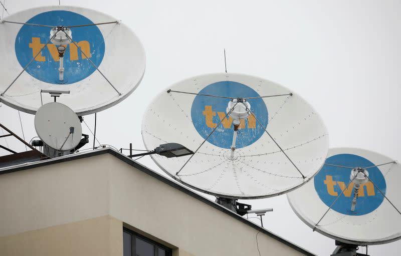 Private television TVN logo is seen on satellite antennas at their headquarters in Warsaw