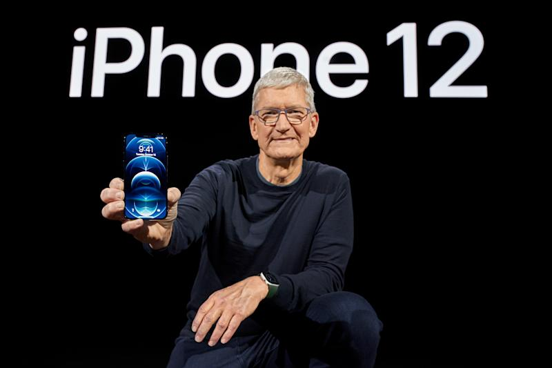 Apple boss Tim Cook showcasing the all-new iPhone 12 Pro at Apple Park in Cupertino, California