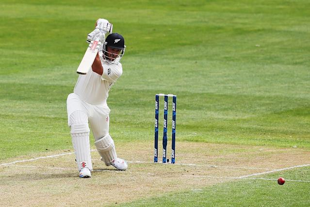 DUNEDIN, NEW ZEALAND - DECEMBER 03: Hamish Rutherford of New Zealand works the ball away for four runs during day one of the first test match between New Zealand and the West Indies at University Oval on December 3, 2013 in Dunedin, New Zealand. (Photo by Hannah Johnston/Getty Images)
