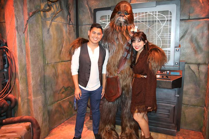 "Keshia and her husband Kevin Disneybounding as Han Solo and Chewbacca from ""Star Wars."" (@keshiadreamsofdisney)"