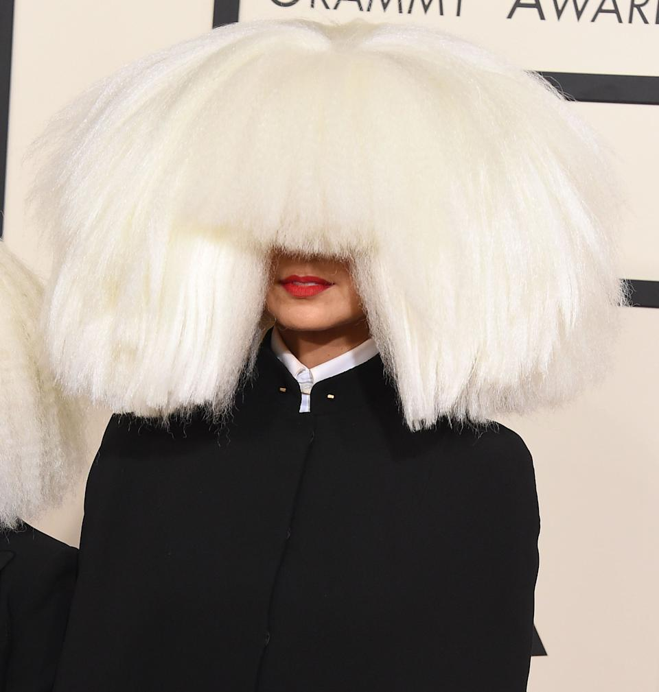 Sia arrives at the The 57th Annual GRAMMY Awards on February 8, 2015 in Los Angeles, California.  (Photo: Steve Granitz via Getty Images)