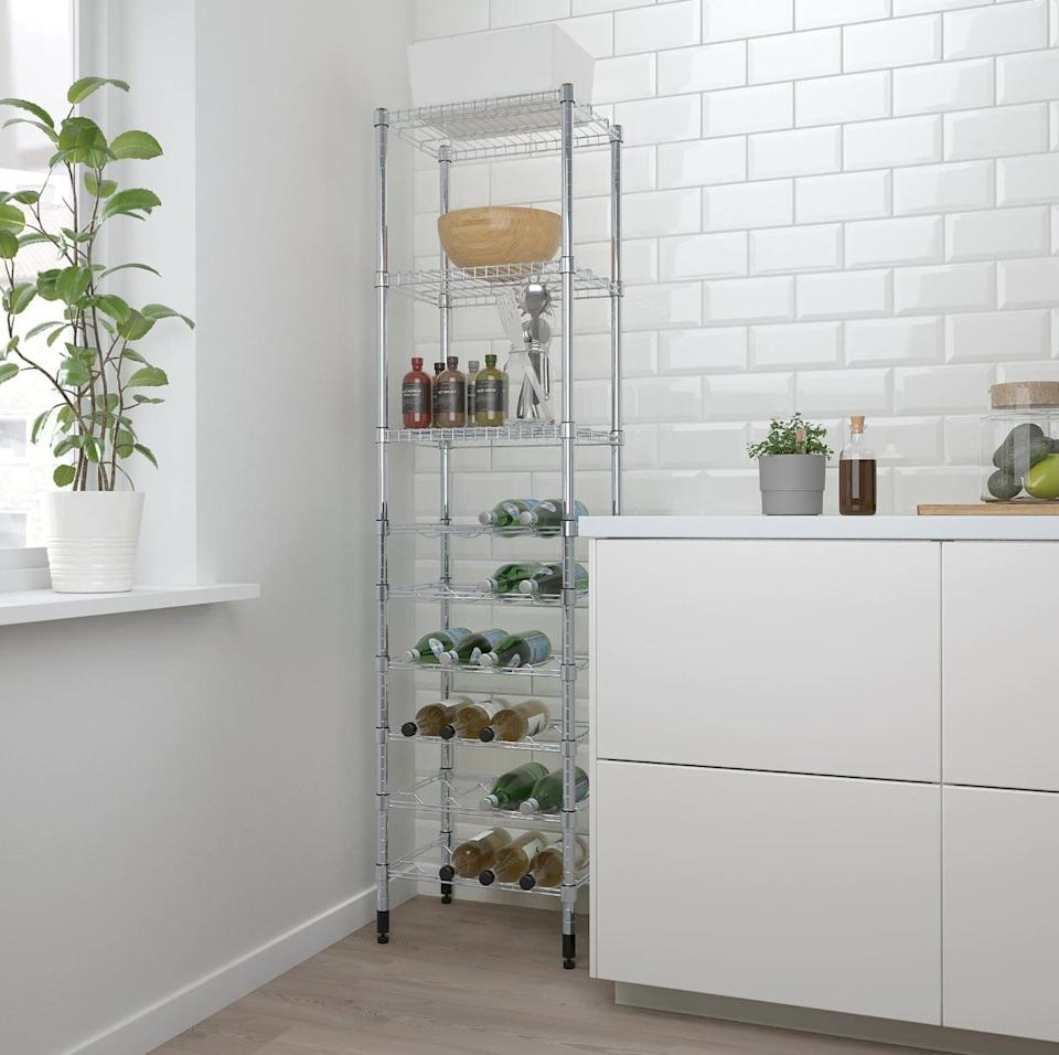 "<p>The slim design of the <a href=""https://www.popsugar.com/buy/Omar%20Shelving%20Unit-447020?p_name=Omar%20Shelving%20Unit&retailer=ikea.com&price=60&evar1=casa%3Aus&evar9=46151613&evar98=https%3A%2F%2Fwww.popsugar.com%2Fhome%2Fphoto-gallery%2F46151613%2Fimage%2F46152210%2FOmar-Shelving-Unit&list1=shopping%2Cikea%2Corganization%2Ckitchens%2Chome%20shopping&prop13=api&pdata=1"" rel=""nofollow noopener"" target=""_blank"" data-ylk=""slk:Omar Shelving Unit"" class=""link rapid-noclick-resp"">Omar Shelving Unit</a> ($60) makes it easy to store in small kitchen spaces, while also offering countless shelves for dishes and food.</p>"