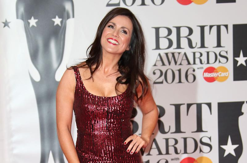 Television presenter Susanna Reid poses for photographers upon arrival for the Brit Awards 2016 at the 02 Arena in London, Wednesday, Feb. 24, 2016. (Photo by Joel Ryan/Invision/AP)