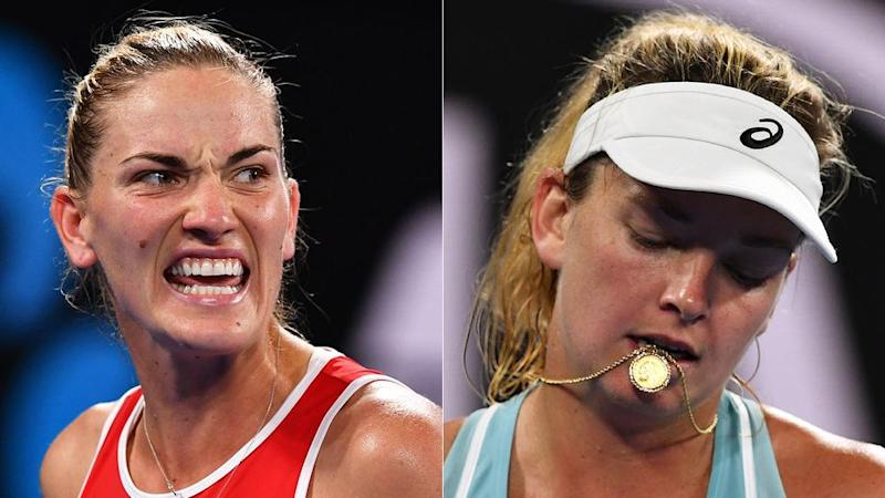Babos (left) and Vandeweghe engaged in a fiery opening day match. Pic: Getty