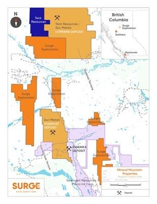 Map of Properties (PRNewsfoto/Surge Exploration Inc.)