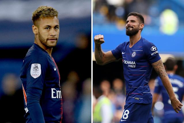 Neymar and Olivier Giroud's futures are the talk of the town this morning
