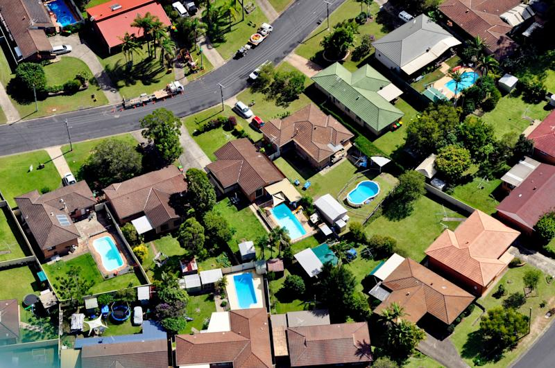 High angle view of houses in a town.
