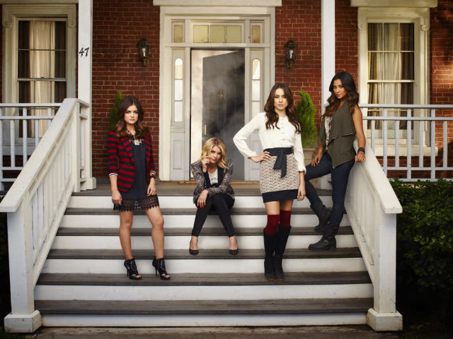 """ABC Family's """"Pretty Little Liars"""" stars Lucy Hale as Aria Montgomery, Ashley Benson as Hanna Marin, Troian Bellisario as Spencer Hastings and Shay Mitchell as Emily Fields."""
