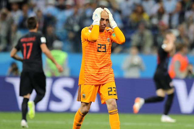 Argentina goalkeeper Willy Caballero reacts to his howler against Croatia at the 2018 World Cup. (Getty)