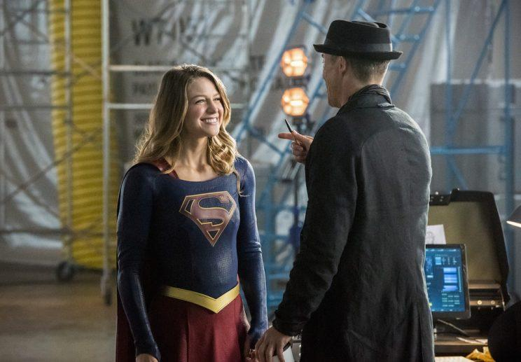 Melissa Benoist as Supergirl and Tom Cavanagh as Harrison Wells (Credit: The CW)