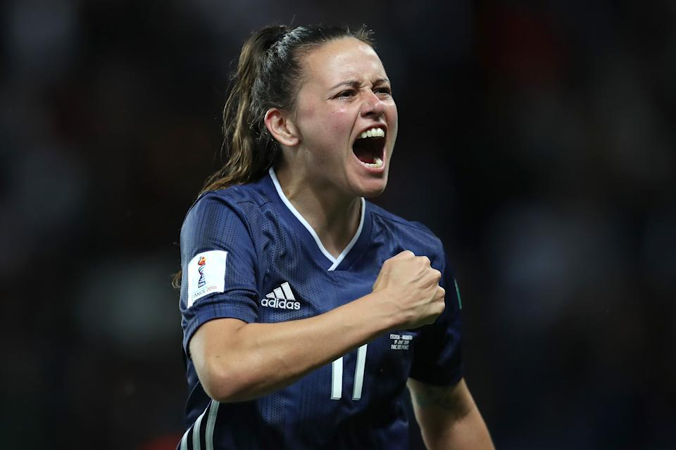 PARIS, FRANCE - JUNE 19: Florencia Bonsegundo of Argentina celebrates after scoring her team's third goal during the 2019 FIFA Women's World Cup France group D match between Scotland and Argentina at Parc des Princes on June 19, 2019 in Paris, France. (Photo by Catherine Ivill - FIFA/FIFA via Getty Images)