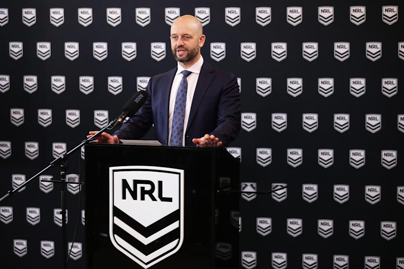 NRL CEO Todd Greenberg speaks to the media during a NRL Press Conference at Rugby League Central on March 16, 2020 in Sydney, Australia. The NRL provided an update on their season schedule as it is impacted by the COVID-19 Pandemic.