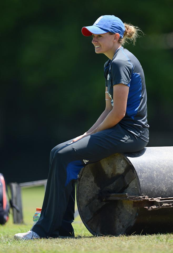 COLOMBO, SRI LANKA - OCTOBER 06:  Laura Marsh of England sit on a roller during a nets session at Colts Cricket Ground on October 6, 2012 in Colombo, Sri Lanka.  (Photo by Gareth Copley/Getty Images)
